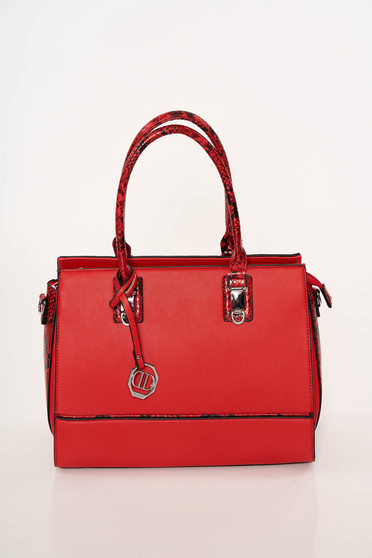 Red bag elegant from ecological leather snake print dettachable shoulder strap