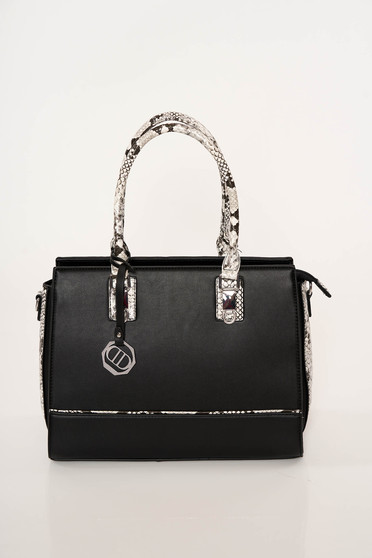 Black bag elegant from ecological leather snake print dettachable shoulder strap