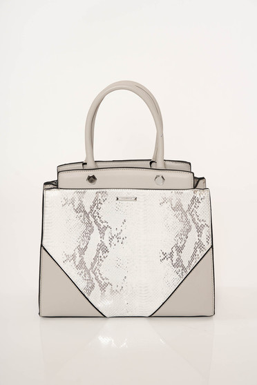 Grey bag office from ecological leather snake print short handles dettachable shoulder strap