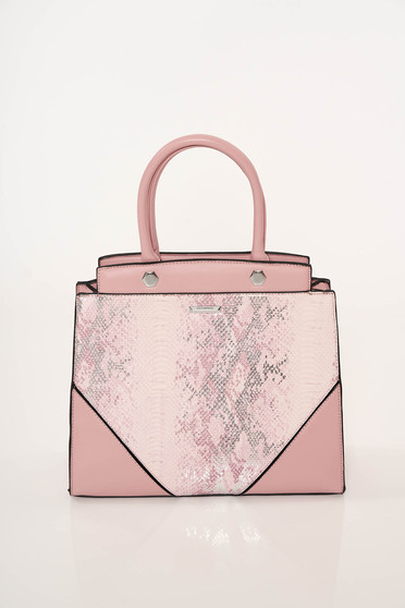 Pink bag office from ecological leather snake print short handles dettachable shoulder strap