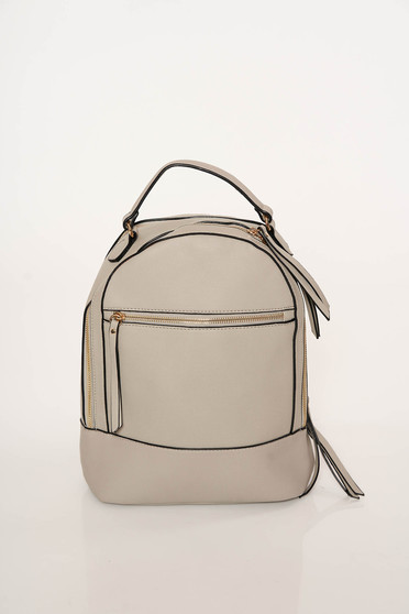 Grey bag casual from ecological leather adjustable straps zipper accessory