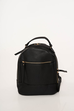 Black bag casual from ecological leather adjustable straps zipper accessory