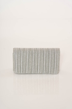 Silver bag clutch elegant metallic chain accessory with one internal pocket compartment