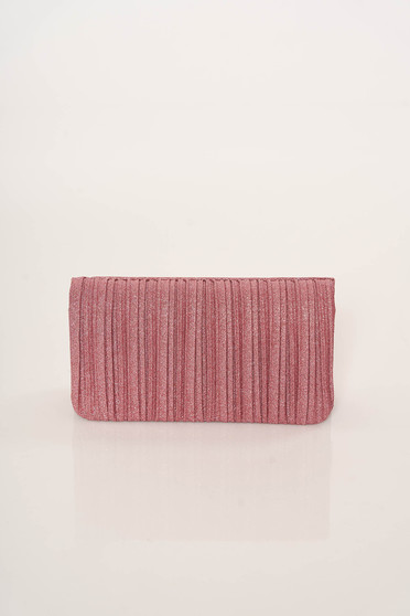 Pink bag clutch elegant metallic chain accessory with one internal pocket compartment
