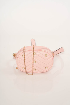 Lightpink bag purse metallic chain accessory with small beads embellished details