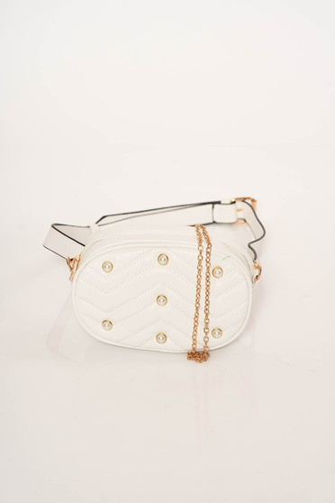 White bag purse metallic chain accessory with small beads embellished details