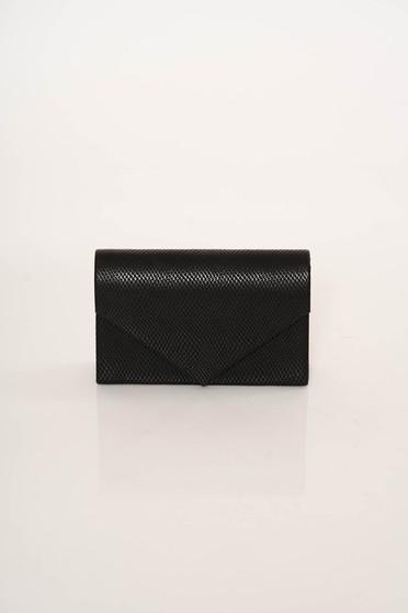 Black bag clutch elegant snake print long chain handle