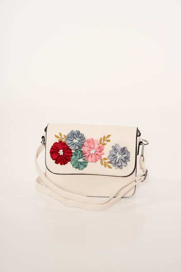 Ivory bag elegant from ecological leather with floral details dettachable shoulder strap