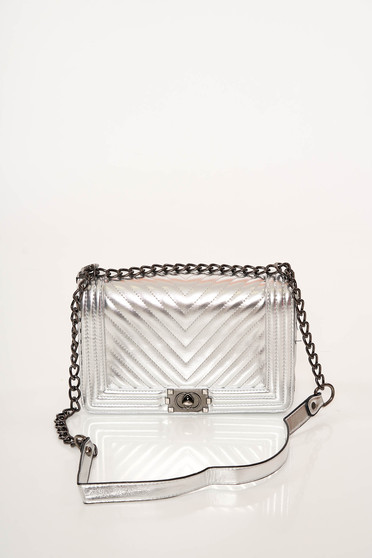 Silver bag elegant from ecological leather