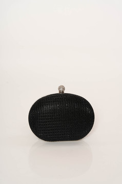 Black bag occasional long chain handle elegant with glitter details