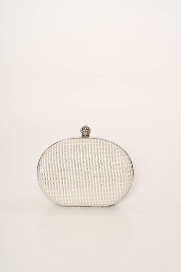 Ivory bag occasional long chain handle elegant with glitter details