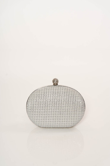 Silver bag occasional long chain handle elegant with glitter details