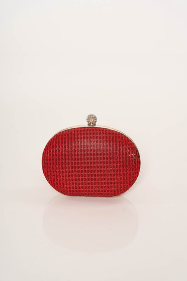 Red bag occasional long chain handle elegant with glitter details