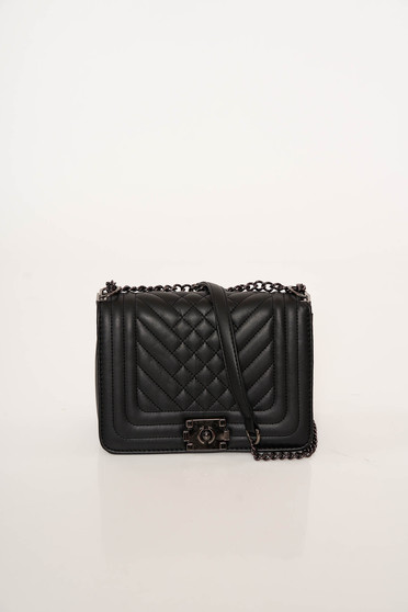 Black bag office from ecological leather metallic chain accessory