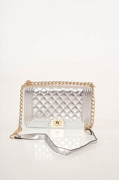 Silver casual bag from ecological leather metallic chain accessory