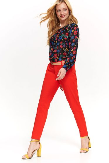 Red trousers accessorized with belt elegant wwith medium waist