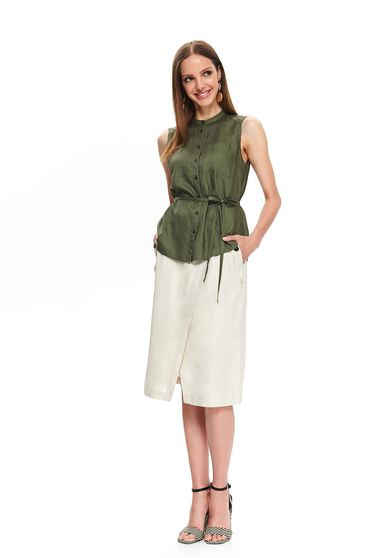 Khaki women`s shirt sleeveless is fastened around the waist with a ribbon thin fabric