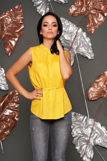 Yellow women`s shirt sleeveless flared short cut elegant thin fabric