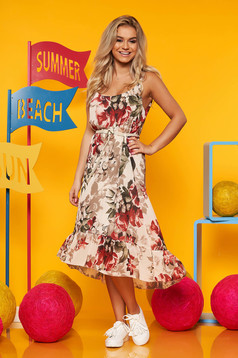 Cappuccino dress casual flared asymmetrical airy fabric with inside lining accessorized with tied waistband