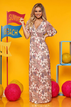 Cappuccino dress daily from veil fabric with elastic waist with butterfly sleeves