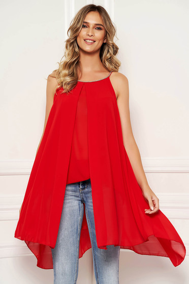 Red women`s blouse short cut from veil fabric daily voile overlay sleeveless