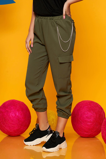 Khaki trousers casual high waisted 3/4 lateral pockets with an accessory