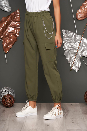 Khaki trousers casual high waisted lateral pockets with an accessory