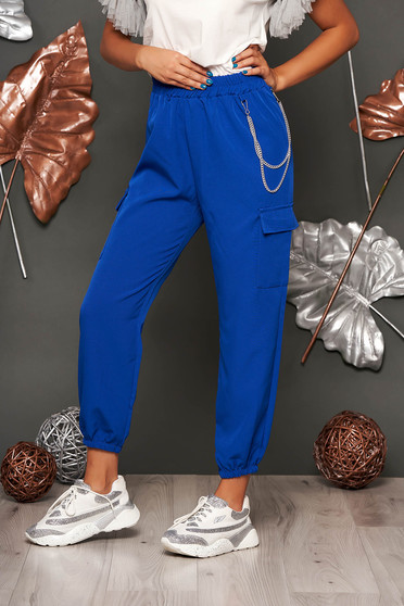 Blue trousers casual high waisted lateral pockets with an accessory