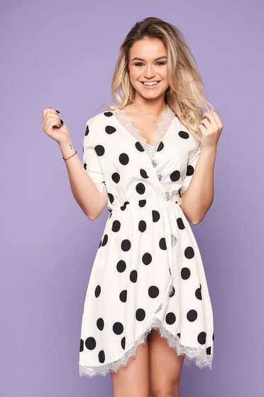 Ivory daily cloche short cut dress from satin with v-neckline dots print