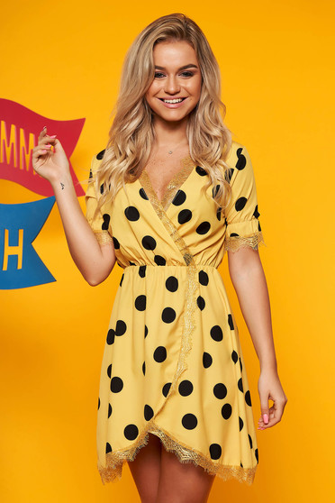 Yellow dress daily cloche short cut from satin dots print with v-neckline