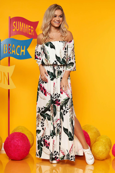 White maxi dresses daily elastic waist with floral print large sleeves cloche