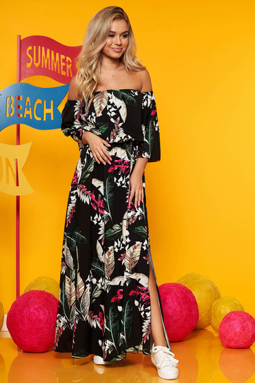 Black dress maxi dresses daily elastic waist with floral print large sleeves cloche