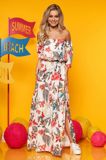 Ivory maxi dresses daily elastic waist with floral print large sleeves cloche