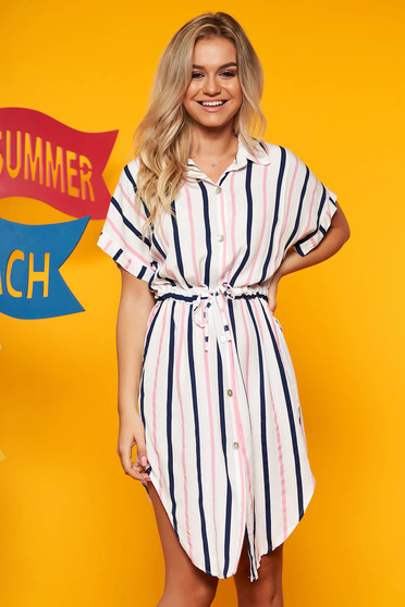 White dress casual daily with stripes flared midi