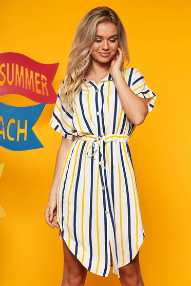 Yellow dress casual daily with stripes flared midi