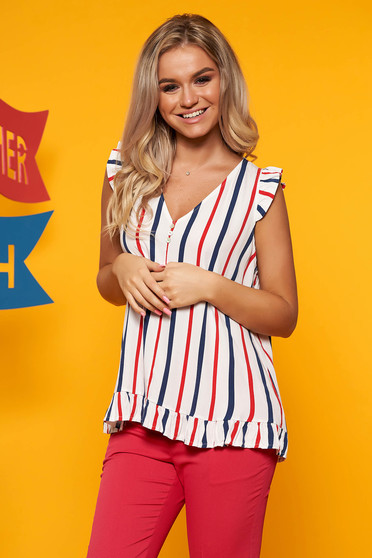 Red top shirt casual short cut flared with v-neckline with stripes