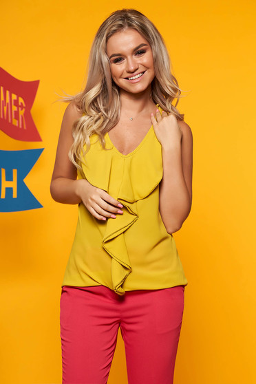 Mustard top shirt casual flared from veil fabric sleeveless with v-neckline