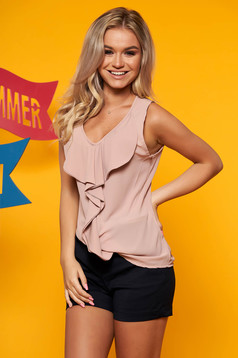 Lightpink top shirt casual flared from veil fabric sleeveless with v-neckline