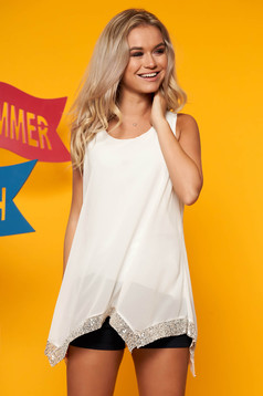 White top shirt casual flared asymmetrical from veil fabric sleeveless