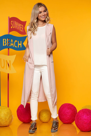 Lightpink gilet casual thin fabric sleeveless with front pockets