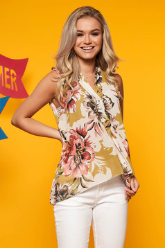 Khaki women`s blouse casual with v-neckline sleeveless asymmetrical with floral print