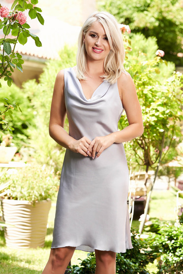 Grey dress elegant daily from satin fabric texture straight sleeveless short cut