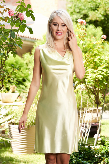 Lightgreen dress elegant daily from satin fabric texture straight sleeveless short cut