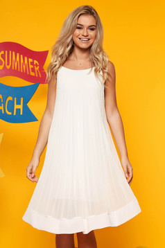 White dress daily airy fabric folded up with straps flared