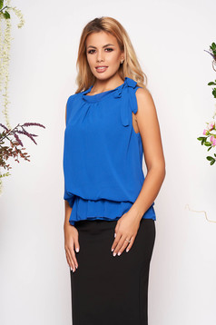 Blue top shirt elegant from veil fabric with elastic waist sleeveless