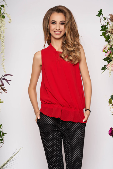 Red top shirt elegant from veil fabric with elastic waist sleeveless