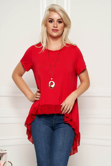 Red women`s blouse casual flared asymmetrical with ruffle details with an accessory