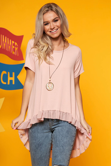 Lightpink women`s blouse casual flared asymmetrical with ruffle details with an accessory