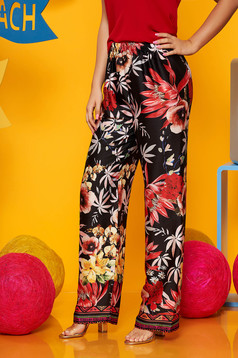 Black trousers high waisted casual thin fabric with floral print