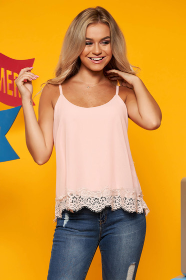 Lightpink top shirt casual flared thin straps from veil fabric with embroidery details
